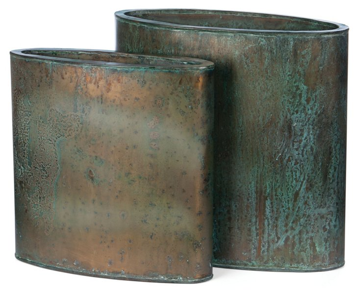 Asst. of 2 Steel Planters, Copper