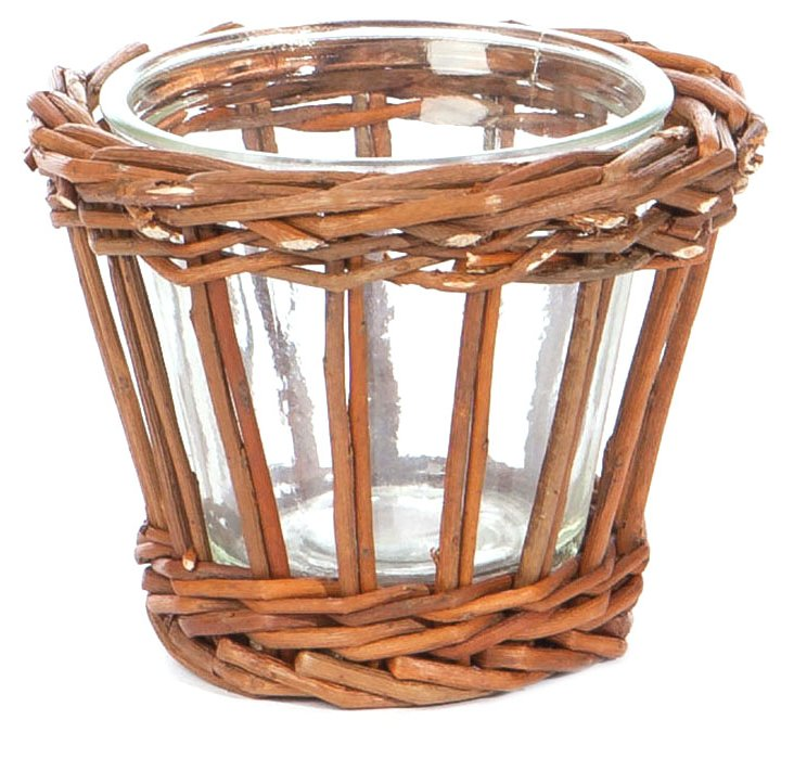 "S/2 5"" Willow & Glass Baskets"