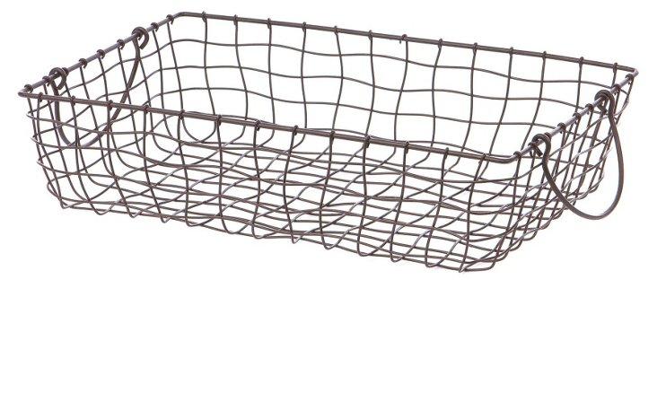 Shallow Rectangular Wire Basket