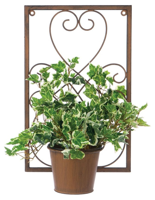 "14"" Metal Wall Planter, Rust"