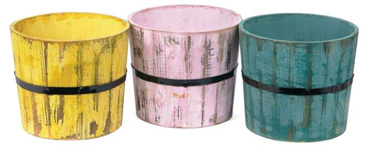 Asst. of 3 Wooden Planters, Cream