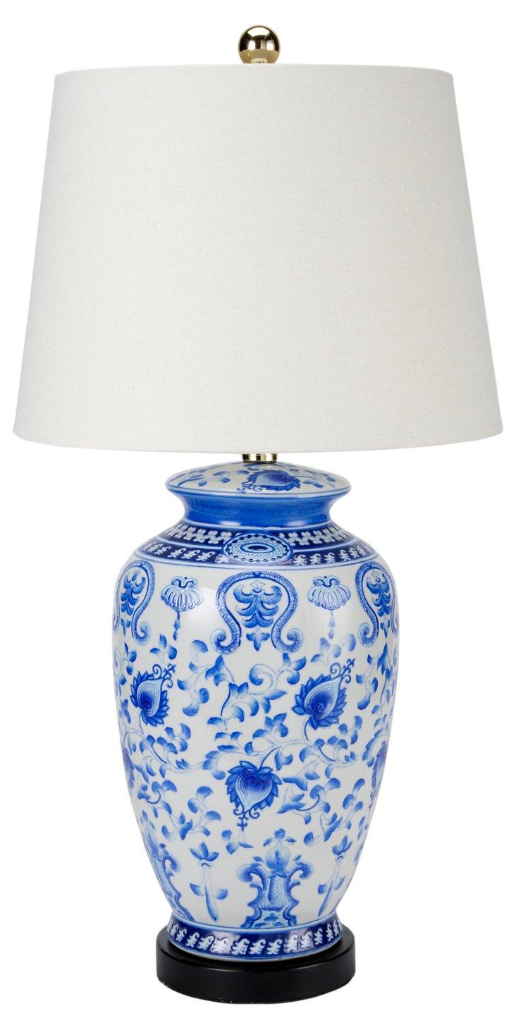 Qing Ceramic Table Lamp, Blue/White
