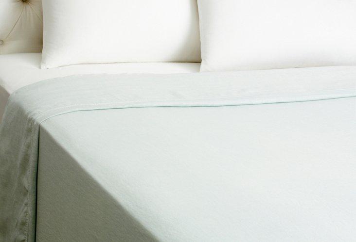 Flat Linen Sheet, Teal