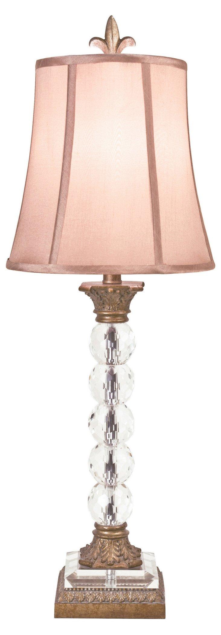 Emiliya Table Lamp, Wood/Crystal