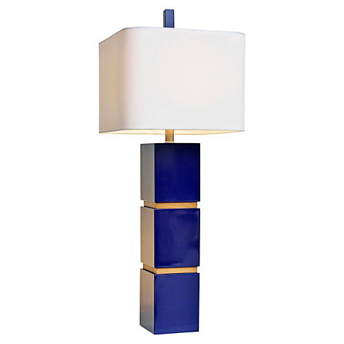 Wilshire Table Lamp, Indigo Blue/Oak