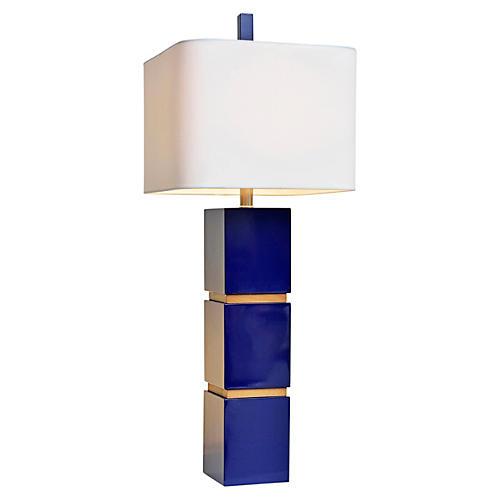 Wilshire Table Lamp, Indigo Blue/Oak