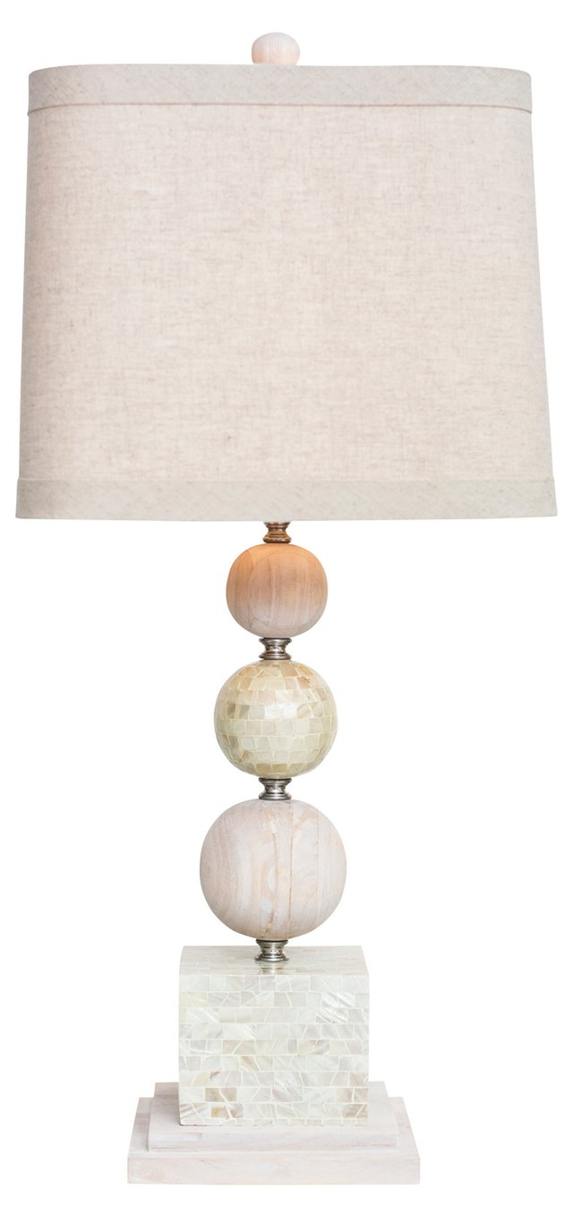 Largo Table Lamp, Natural Rubberwood