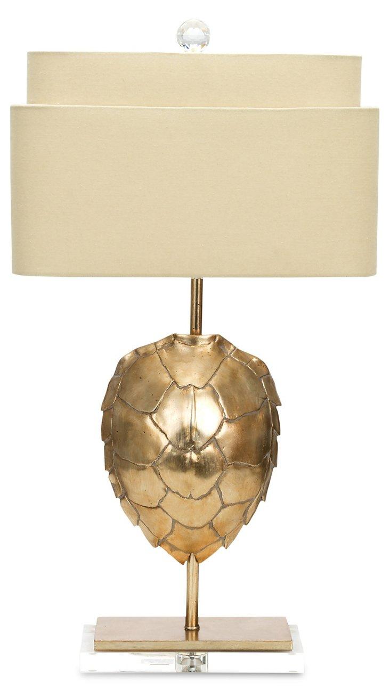 Gilded Tortoise Table Lamp, Silver