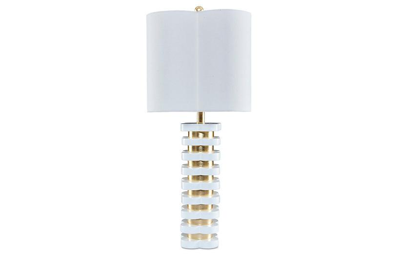 Quatrefoil Table Lamp, White