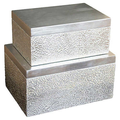 S/2 Parker Rectangular Boxes, Silver