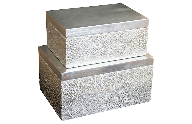 Set of 2 Parker Rectangular Boxes - Silver
