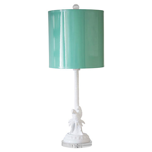"35"" Parrot + Palm Table Lamp"