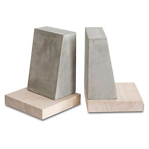 S/2 Pacifica Bookends, Gray/Natural