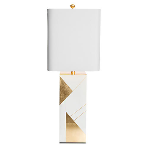 Hollywood Table Lamp, Glossy White/Gold