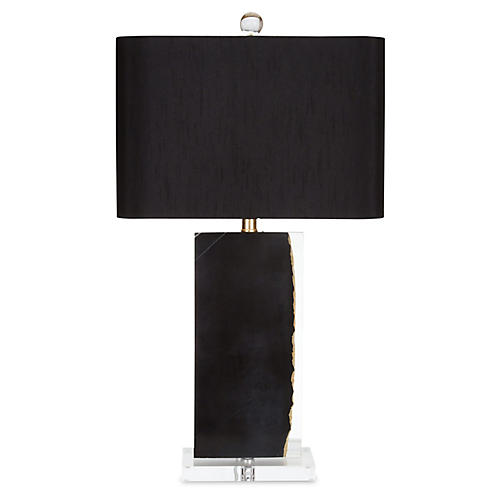 Westbourne Marble Table Lamp, Black/Gold
