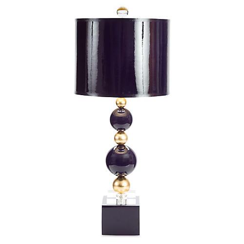 Sheridan Crystal Table Lamp, Indigo/Gold