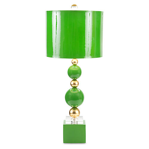 Sheridan Crystal Table Lamp, Kelly Green/Gold