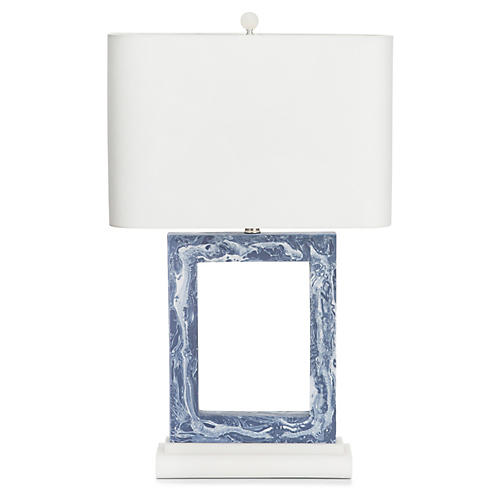 Pacific Heights Table Lamp, Marbled Blue