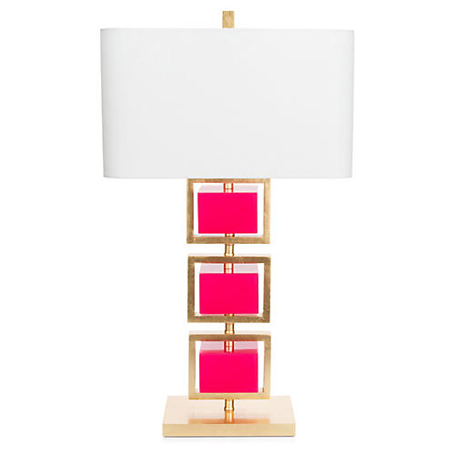 Coventry Table Lamp, Fuchsia/Gold