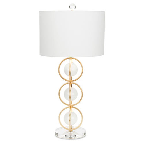 Anderson Table Lamp, White/Gold