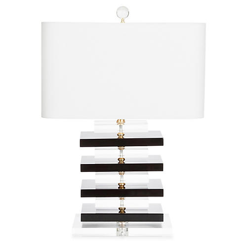 Devonshire Table Lamp, Black/Clear