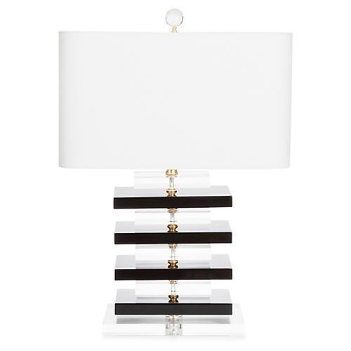 Devonshire Table Lamp, Black/Clear