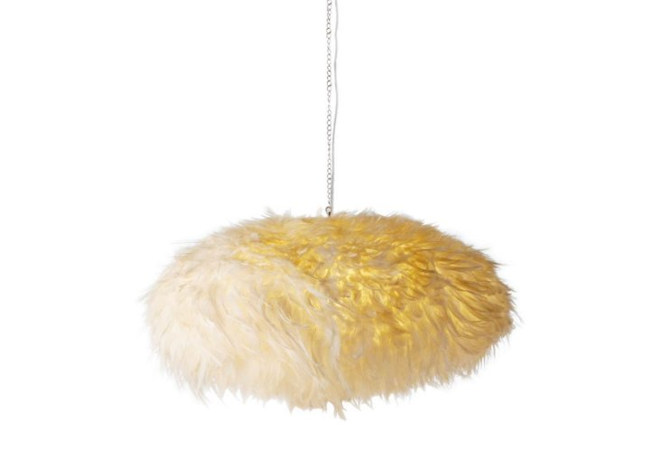 Indri Hanging Feathers Lamp, White