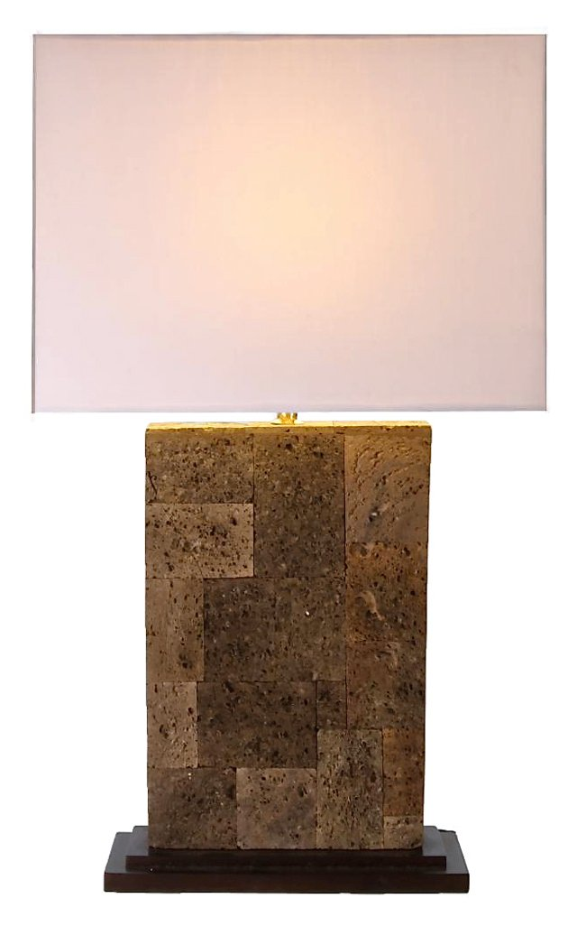 Biju Square Stone Lamp, White Shade