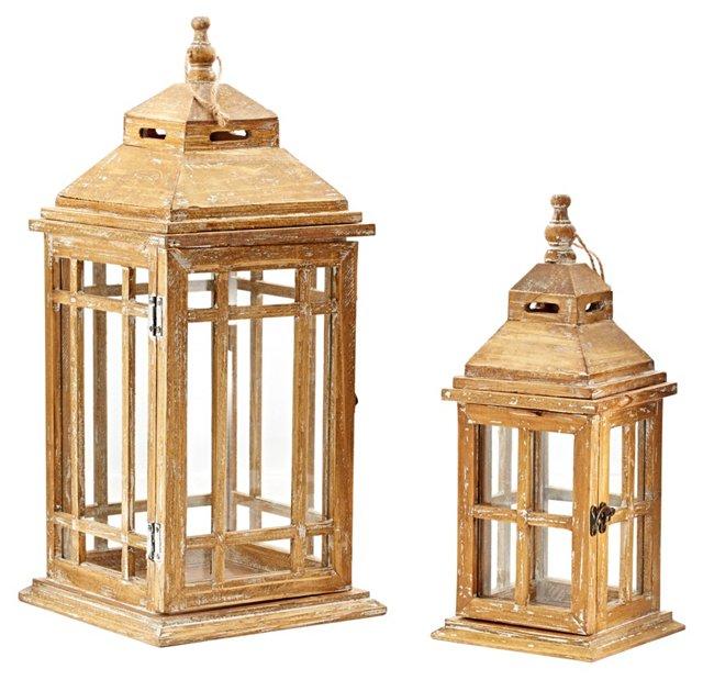 Asst. of 2 Wooden Lanterns, Brown