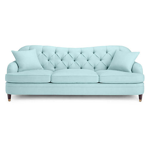 Drake Tufted Sofa, Light Blue