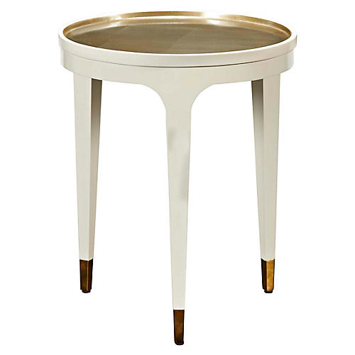 Thackery Side Table, Cream/Gold Leaf