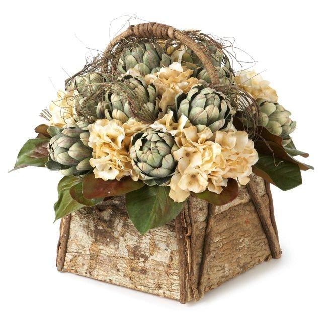 Artichoke & Hydrangea Wood Basket