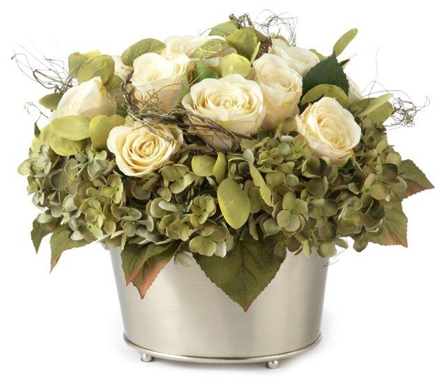 """15"""" Hydrangea & Roses in Bucket, Faux"""