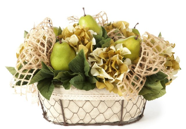 Pears in Wire Basket
