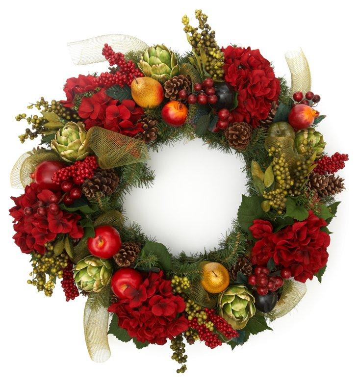 Red Amaryllis & Fruit Wreath