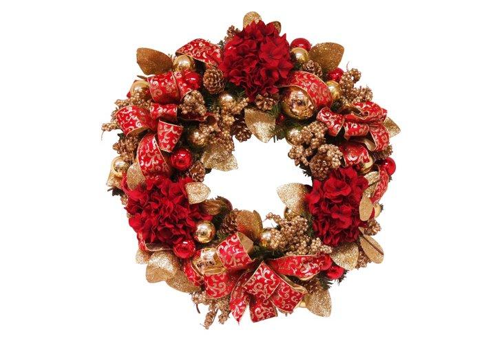 Hydrangea Wreath, Red