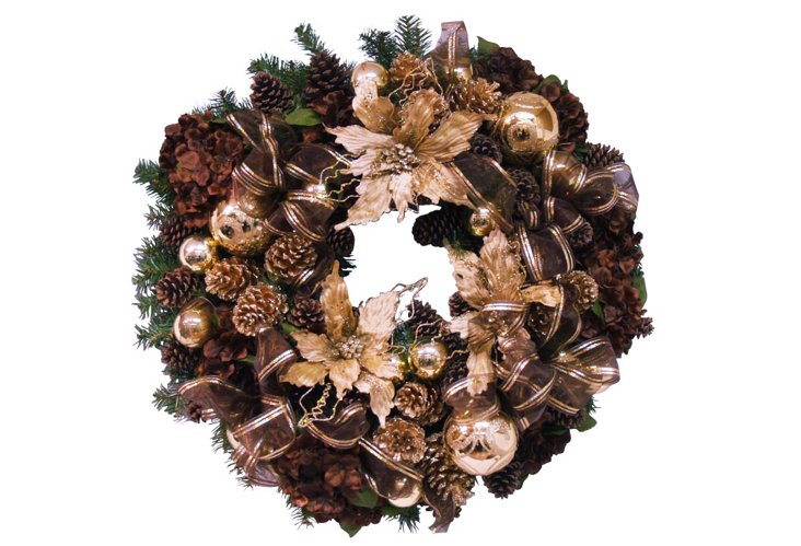 Poinsettia Wreath, Brown & Gold