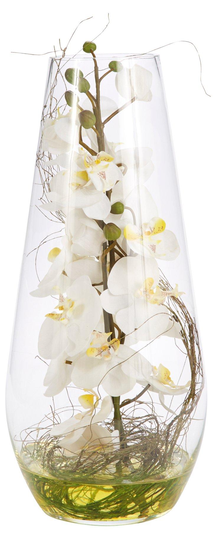 """20"""" Orchid in Teardrop Glass, Faux"""