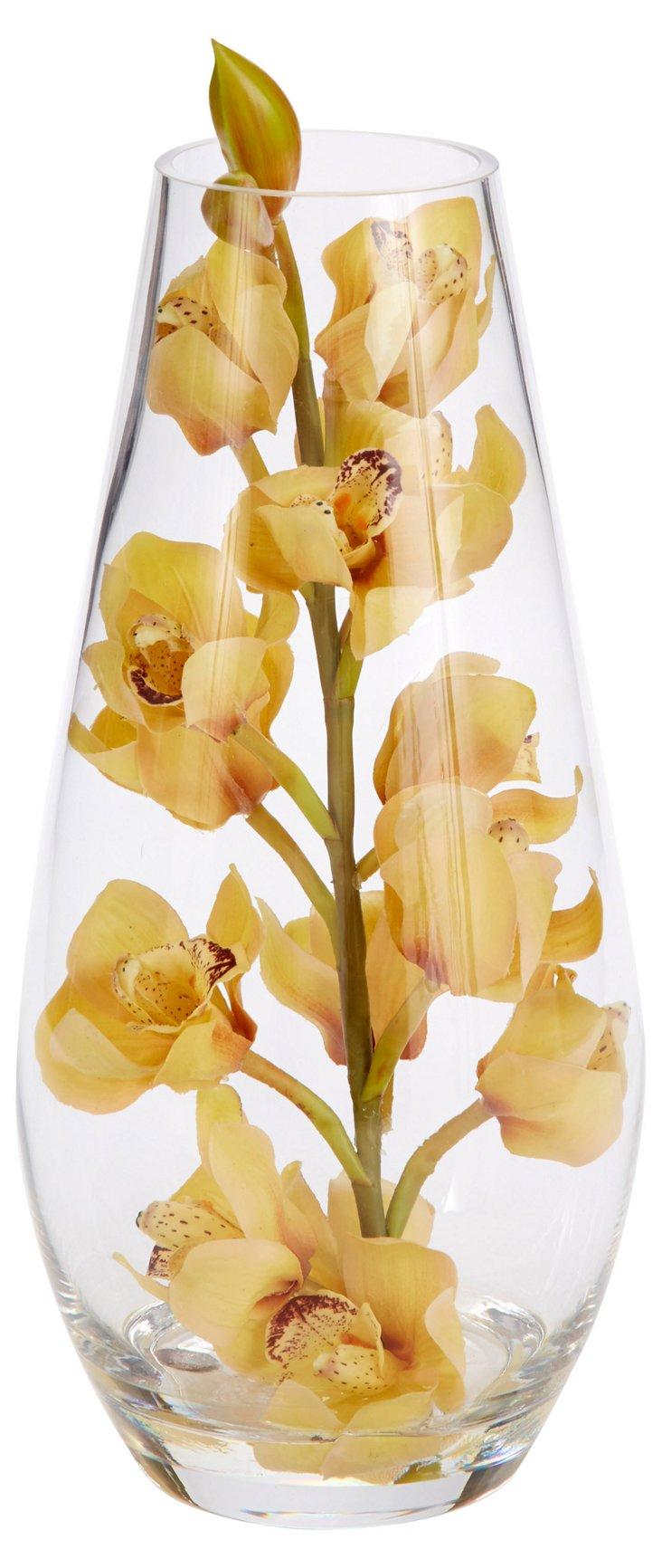 """15"""" Orchids in Teardrop Vase, Faux"""
