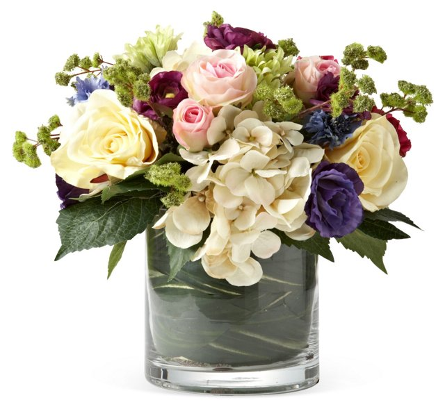 "12"" Roses & Hydrangea in Vase, Faux"