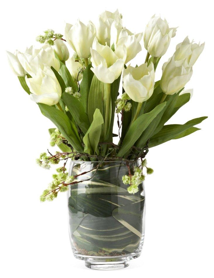 Tulips & Vine in Glass Vase, White