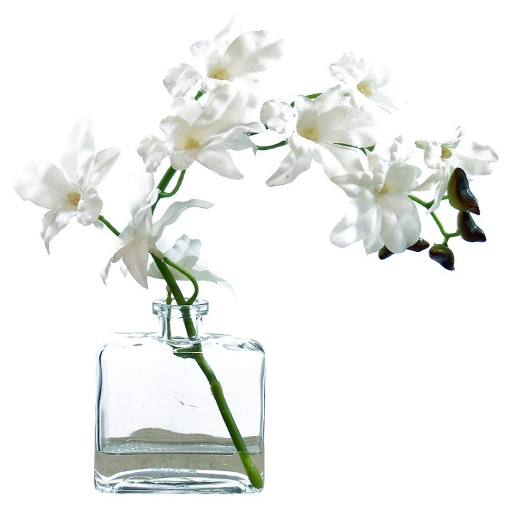 "10"" White Orchids in Glass Bottle, Faux"