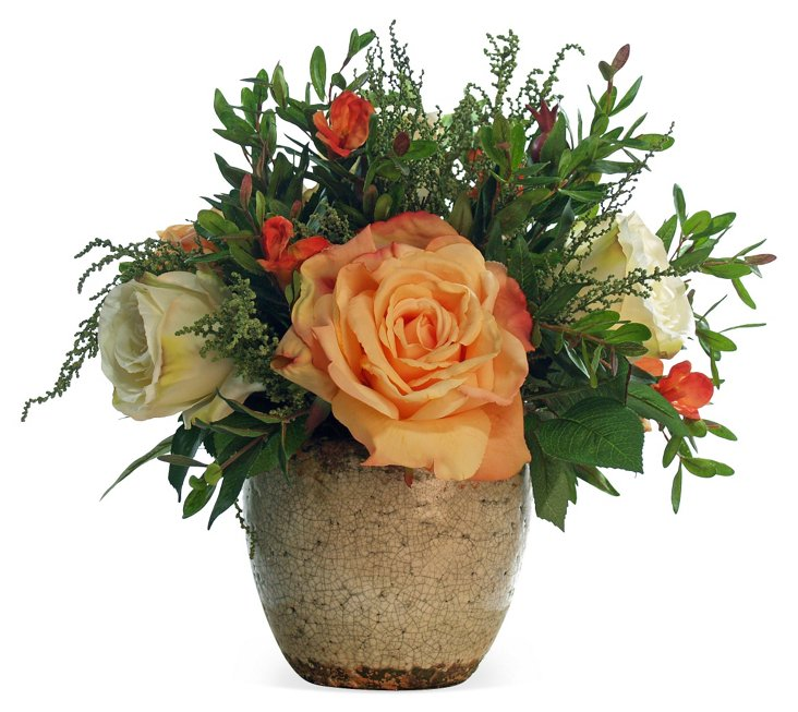 "12"" Roses in Ceramic Pot, Orange"