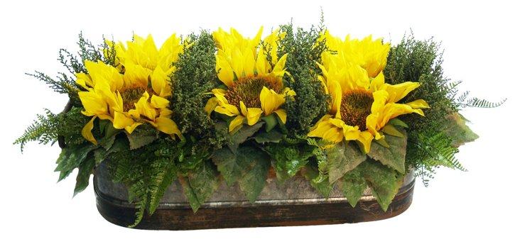 """20"""" Sunflower Trough, Faux"""