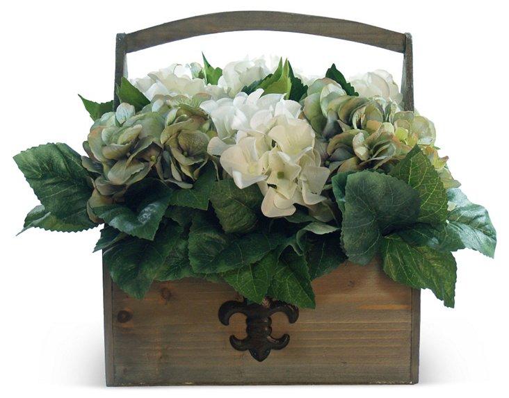 """11"""" Hydrangea in Wooden Pot, Blue"""