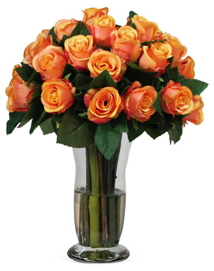 "14"" Roses in Glass Vase, Faux"