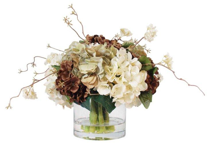 """24"""" Hydrangea in Glass Vase, Faux"""