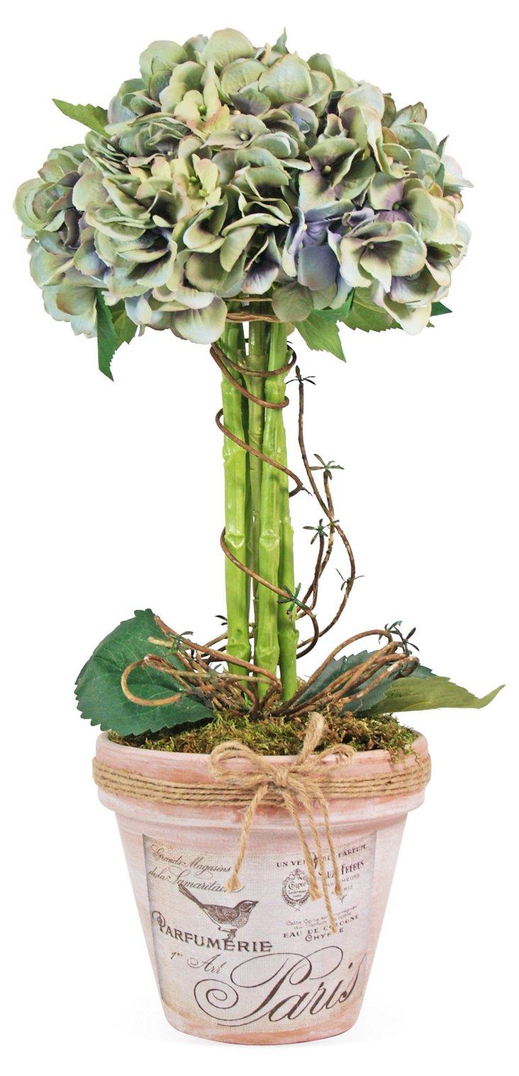 """22"""" Hydrangea in Pot, Faux"""