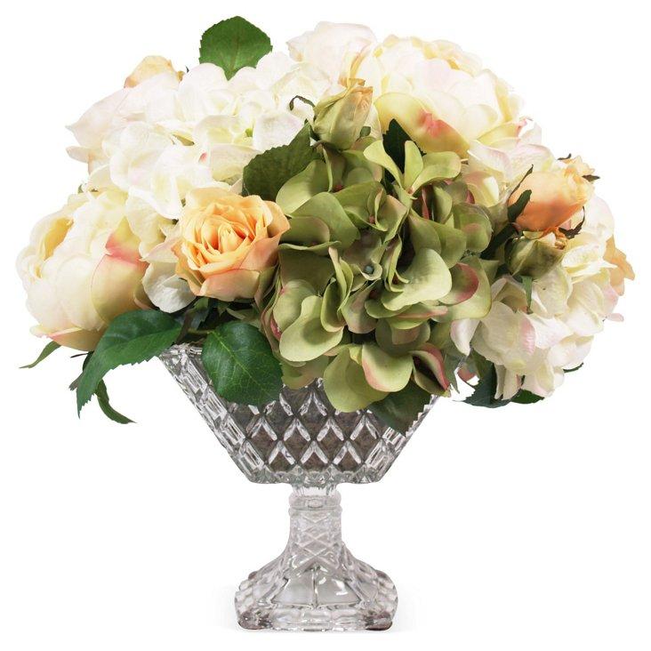 """16"""" Hydrangeas & Roses in Pot, Faux"""