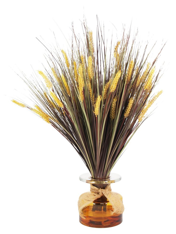"32"" Wheat Grass in Vase, Faux"
